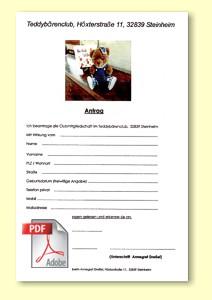 Teddymuseum Steinheim PDF Antrag Clubmitglied